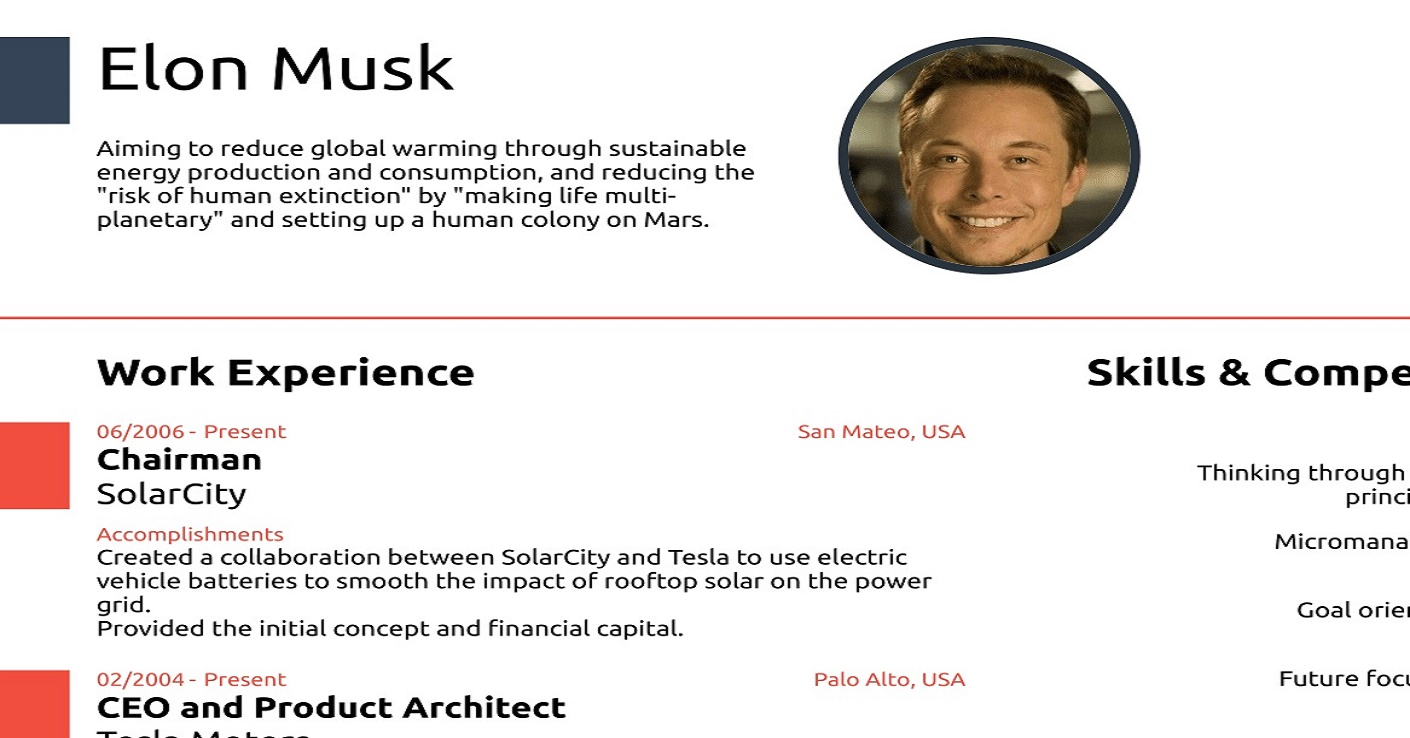 resume Elon Musk Resume the resume of elon musk proves that you really dont need to use 0
